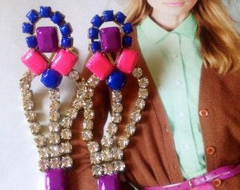 Neon Hand painted Vintage Rhinestone Earrings - Custom Made to Order