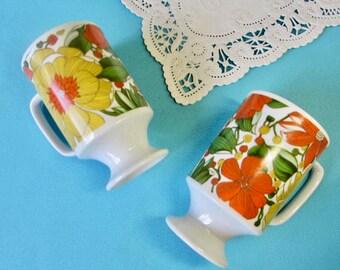 Mod Floral Coffee Cups - Set of 2 - Goodwood Brand -  Pedestal Style - Orange & Yellow -  Retro Coffee Mugs - Vintage 1970's