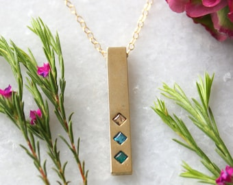Gold Bar Necklace with Birthstones, Family Necklace. Gold Birthstone bar necklace by Toozy. Personalized gift for mom. Mother's Day Gift!