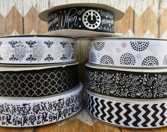 7/8 New Years Ribbon, Black Chevron, Clock Ribbon, Midnight Ribbon, Black and White Ribbon, Black Dots Ribbon, Ribbon by the Yard