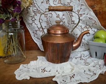 Vintage Copper Kettle with Wooden Handle Farmhouse Kitchen Decor Teapot Tea Pot Serving Tagus made in Portugal