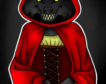 Red Riding Hood Werewolf Postcards, werewolf postcards, red riding hood postcards, Medieval Werewolf