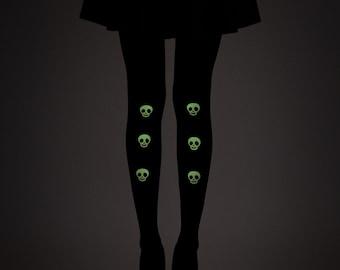 Glow in the dark skulls tights / Halloween tights / Goth tights