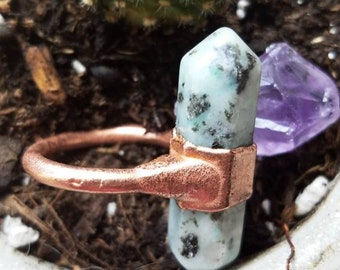 Size 6 Lotus Japser and Copper Statement Ring