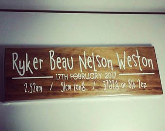 Baby name signs / baby statistics wood sign / Made in Australia