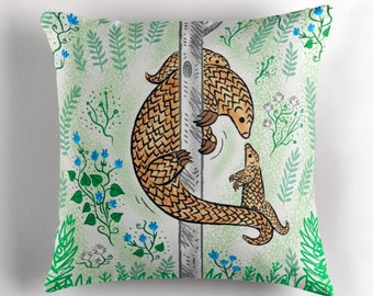 "Pangolin Parenting - Throw Pillow / Cushion Cover (16"" x 16"") by Oliver Lake / iOTA iLLUSTRATION"