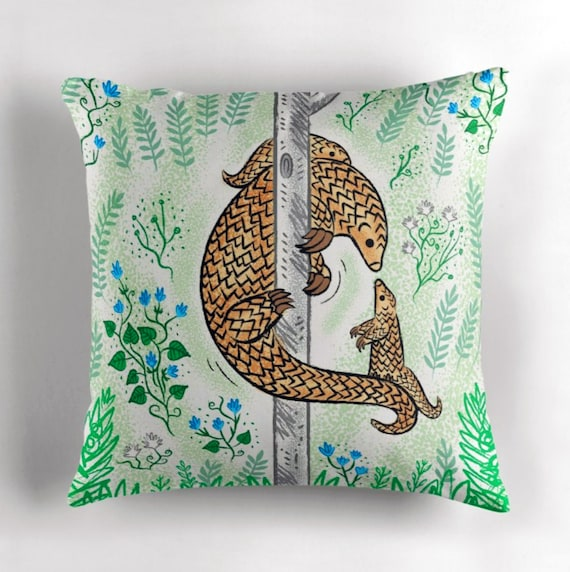 """Pangolin Parenting - Throw Pillow / Cushion Cover (16"""" x 16"""") by Oliver Lake / iOTA iLLUSTRATION"""