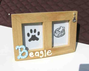 Final Markdown Sale...BEAGLE Dog Breed Wood Desktop Double Photo Frame w/Pawprint Charm CHOOSE Red or Blue Letter