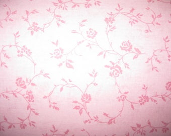 100 percent cotton fabric/pink with darker pink flowers and vines/quilting/crafts/apparel/by the yard