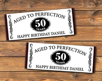 Aged To Perfection Printable Personalized Candy Bar Wrapper, Custom Party Hershey Bar Favors Labels, DIY Label Wraps, 50th 60th 70th Digital
