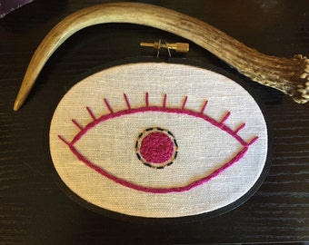 SALE Eye Embroidery in Magenta