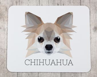 A computer mouse pad with a Chihuahua dog. A new collection with the geometric dog