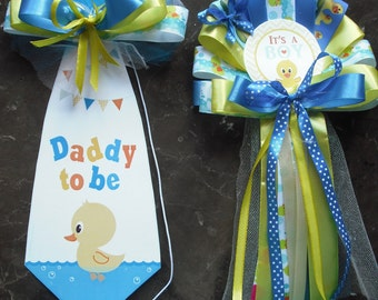 Mommy and Daddy Baby shower corsage Duck set Mommy corsage and Daddy's Tie