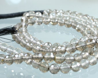 AA 1/2 Strand Smokey Smoky Quartz Faceted Rounds 6mm