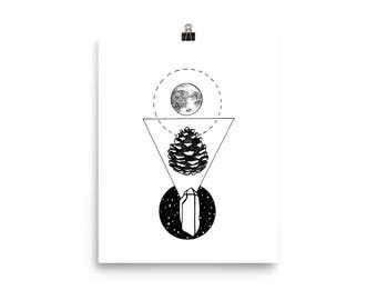 Full Moon, Pine cone, Crystal Print