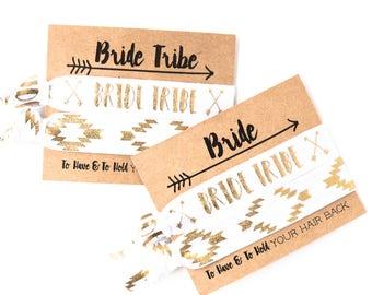 Boho Bride Hair Tie Favor | White Ivory + Gold Foil Hair Tie Gift, Tribal Aztec Arrows, White Ivory + Gold Bride Tribe Bachelorette Gift