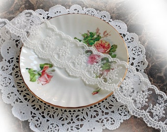 Reneabouquets Trim-Sheer Romance Lace In White, Embroidery, Mesh , Wedding Trim, Sewing, Scrapbook, crafts