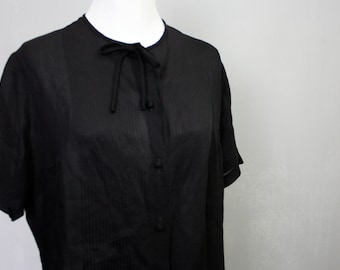 Midnight Black Peek-a-Boo Sheer Nylon Secretary Blouse Short Sleeves | Vintage 1950s | Medium