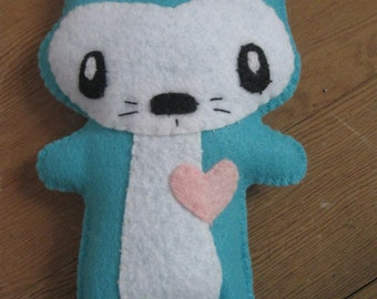 handmade felt Bunny RABBIT Doll tiny blue Aqua