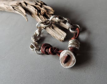 Sterling Silver Bracelet, Leather Bracelet, Silver and Leather, Handmade Silver Chain, Rustic Handcrafted, Jewelry For Him, Jewelry for Her