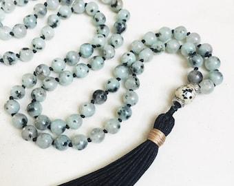 Green Sesame Jasper Mala Necklace   Mala Beads   108 Mala Beads   Mala Jewelry   Prayer Beads   Meditation Beads   Boho Jewelry  