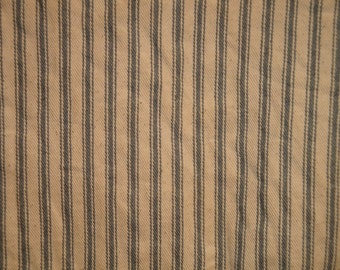 Coffee Dyed Ticking Stripe Material | Steel Gray Ticking Coffee Dyed | 58 x 42