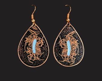 Etched and colored Copper Clostridium difficile Bacteria Design Earrings