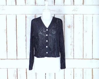 Vintage Jacqueline Ferrar black burnout velvet floral long sleeve button down blouse/cropped sheer net velvet shirt/velvet top