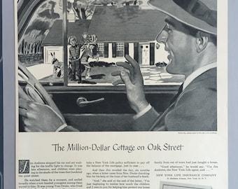 "1949 New York Life Insurance Company Print Ad - ""The Million-Dollar Cottage on Oak Street"""