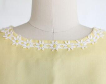 Vintage Daffodil Yellow Maternity Shift Dress ~ Daisy Applique Handmade ~ L/XL