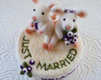 Hochzeitstorte Topper benutzerdefinierte gemacht, nadelgefilzte Tiere und Vögel Skulptur
