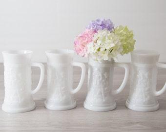 4 Milk Glass Mugs / Vintage German Beer Mugs / Set of 4 White Federal Glass Ale Stein / White Flower Vase / Straw Holder