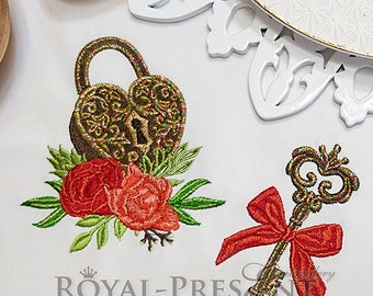 Machine Embroidery Design Heart shaped lock and flowers - 2 in 1