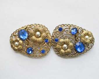 Art nouveau belt buckle in gold and blue, vintage Cannetille buckle, cloack clasp, gilt filigree belt clip