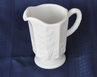 White Milk Glass Pedestal Small Pitcher, Paneled and Embossed Grapes and Leaves Pattern,Vine Textured Handle, Chic, Vintage,Gift,Collectible