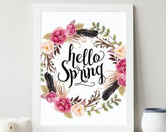 Hello Spring Printable, Digital Floral Printable, Flower Print, Typographic Print, Spring Art, Flower Art, Nursery Printable, Seasonal Art