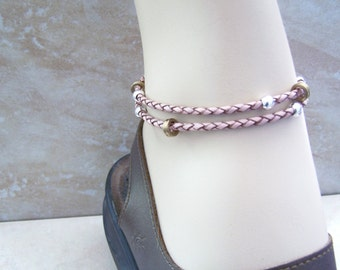 Pink Anklet, Double Wrap Anklet, 6-12 inch, Leather Cord, Ankle Bracelet, Beach Jewelry, Leather Bracelet, Petite to Plus Size
