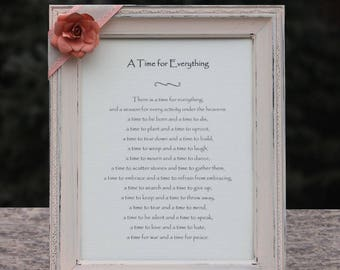 Time for Everything Verse Ecclesiastes 3 Bible Scripture Custom Distressed Frame To Everything There is a Season Quote