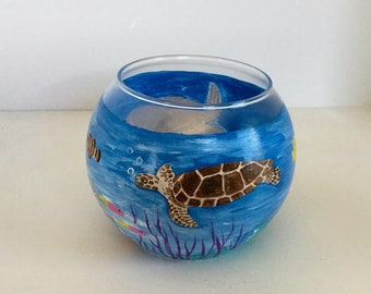 Hand Painted Sea Turtle Glass Candle Holder - Sea Turtle Glass Bowl - Sea Turtles Underwater