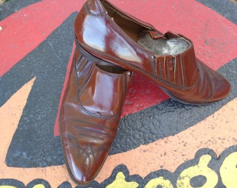 VINTAGE 1980's Brown Leather Italian Boots by Bloomingdale's Mens Store - available