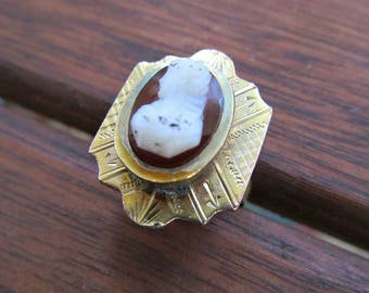 Antique Victorian Cameo Ring - Hardstone Sardonyx - Gold Filled & Brass - SZ 6