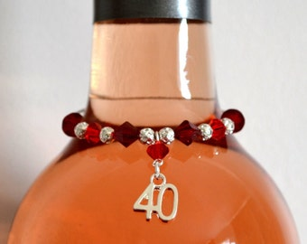 40th Wedding Anniversary Gift Pair of Swarovski Crystal Wine