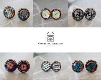 Stud Earrings gunmetal cabochon glass