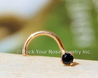 Black Diamond Style Nose Stud in Gold  - CUSTOMIZE