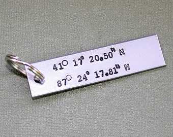Latitude and Longitude Key Chain - Personalized Key Ring - Hand Stamped Key Holder - Gift for Dad or Grandpa