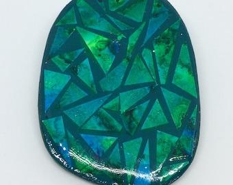 Shades of the sea recycled paper brooch, jewellery, art jewellery, handmade jewellery, mosaic,