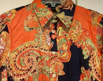 Ralph Lauren Blouse Sz Small-Med Paisley Blouse Paisley Print Blouse Orange and Blue Paisley Blouse Collar Button Ladies Womans Shirt