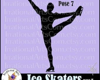 Ice Skaters pose 7  - with 1 EPS, SVG & PNG Male skaters Clip Art digital graphics + scl Vinyl ready images (Instant Download)
