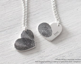 Custom Actual Fingerprint Heart Necklace - Delicate Personalized Fingerprint Necklace For Her - Mother's Day Gifts - #PN04.15