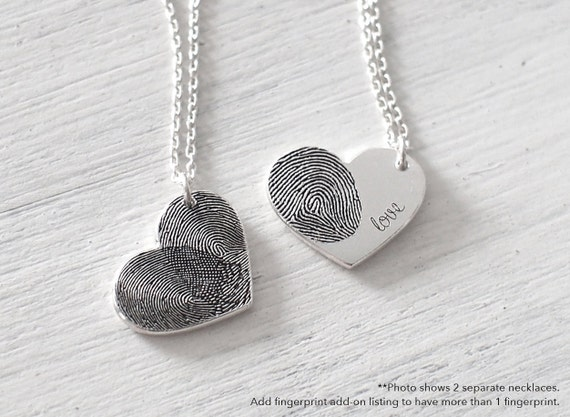Custom actual fingerprint heart necklace delicate for Kay com personalized jewelry